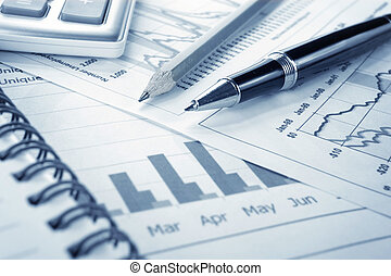 Background of business graph and a pen