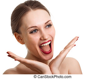 Surprised excited woman screaming amazed in joy Isolated on...