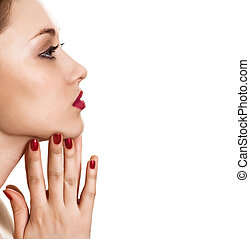portrait of beauty woman with red bright manicure on white...
