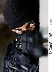 armado, terrorista, apontar, câmera
