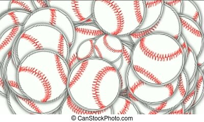 rolling softball and baseball array.