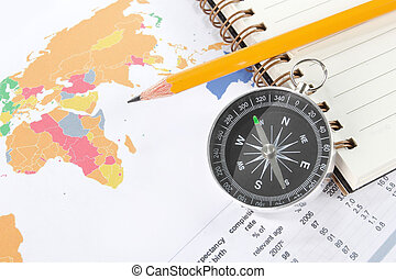 World map business background with compass and pencil