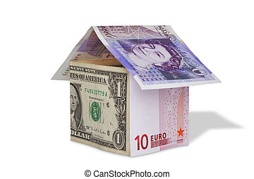 Banknotes currency concept house isolated - Photo of a house...
