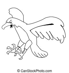 Flying eagle - Cartoon illustration of an eagle, line...