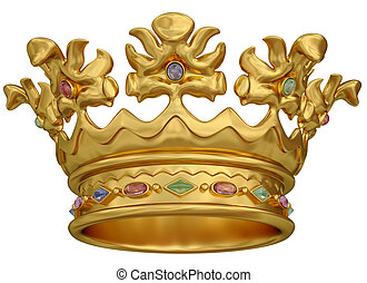 Gold crown with gems isolated on white background