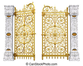 Gold gate isolated on white