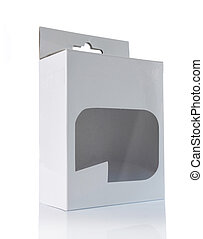 white box with transparent plastic window isolated over...