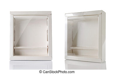 white box with transparent plastic window. isolated over...