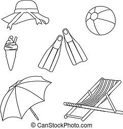 Beach Objects Line Style Drawing - Illustration set of beach...