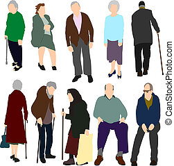 Old People Set No1 - Illustrations set of ten old men and...