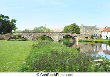 old bridge over river Tyne in Haddington - the old bridge...