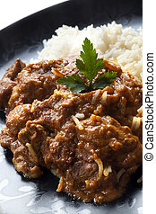 Rogan Josh - Rogan josh with rice.  Delicious Indian curry.