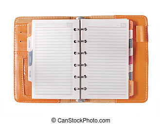 orange binder paper spiral notebooks isolated on white