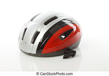 bike helmet - Close up of bike helmet on white background