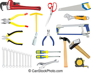 The set of hand tools - The vector image of a set of manual...