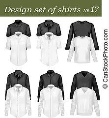 negro, blanco, hombres, polo, camisas