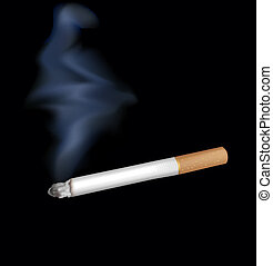 Smoking cigarette. Isolated on black. Closeup.