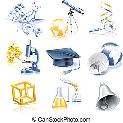 Vector science icon set - Set of education and science icons