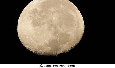 Moon Close-Up HD - Moon Close-Up shot at night througt...