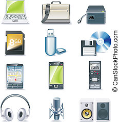 Vector detailed computer parts icon - Set of realistic...