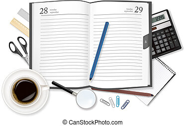 Cup of fragrant coffee diary. Vector.