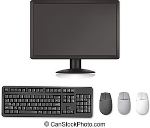 Monitor, keyboard and mouses. Illustration for your design...