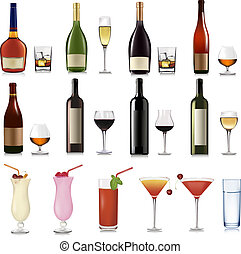 Set of different drinks and cocktails. Vector illustration.