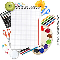 Back to school. Notebook with school supplies. Vector.