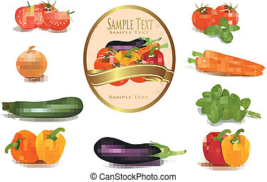 Group of vegetables and label with vegetables....