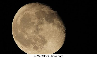 Moon Close-Up HD - Moon Close-Up shot at night througt...