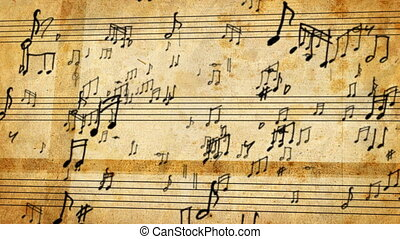 Musical Notes - notes swirling around the old manuscript,...