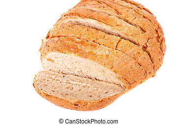 Loaf of Sliced Whole Grain Bread on White