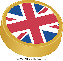 3d button in colors of UK