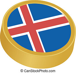 3d button in colors of Iceland