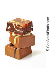 Chocolate candy stacked