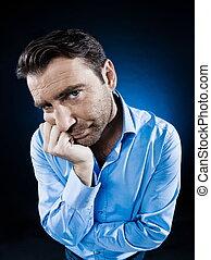 Man Portrait Sulk Bored - caucasian man unshaven portrait...