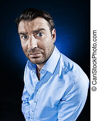 Man Portrait Frown Sulk - caucasian man frown sulk unshaven...