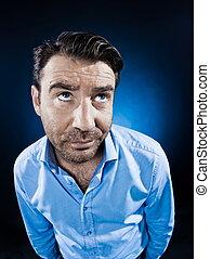 Man Portrait pensive - caucasian man unshaven portrait...