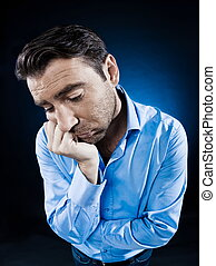 Man Portrait Sulk Tired - caucasian man unshaven portrait...