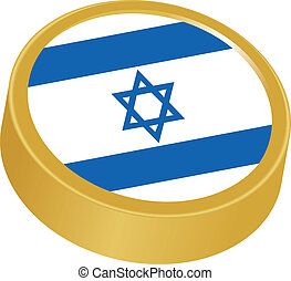 3d button in colors of Israel