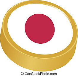 3d button in colors of Japan