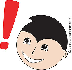 character with exclamation point - Illustration of character...
