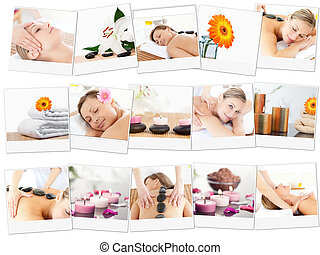 Montage of beautiful women relaxing in a spa centre
