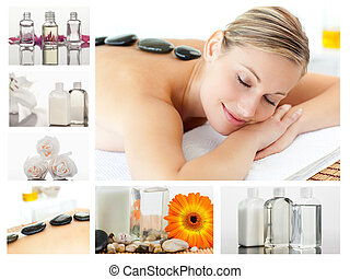 Collage of a cute blond woman relaxing