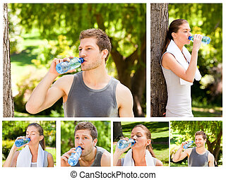 Collage of a young couple drinking water after the gym in a...