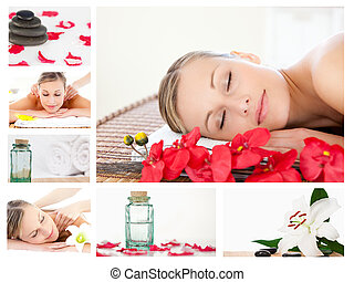 Collage of a charming blond woman relaxing