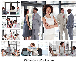 Collage of businesspeople in different situations
