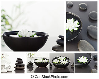 Collage of several bowls with pebbles in a medical context