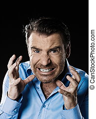 Man Portrait angry anger stress furious - caucasian man...
