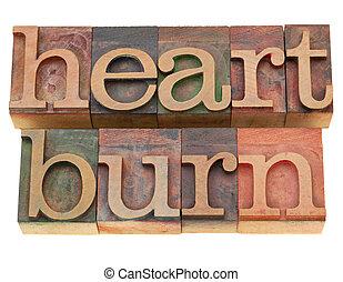heartburn word in letterpress type - heartburn - isolated...